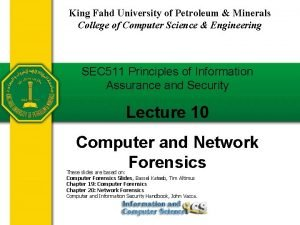 King Fahd University of Petroleum Minerals College of