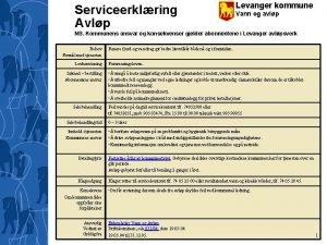 Serviceerklring Avlp Levanger kommune Vann og avlp NB
