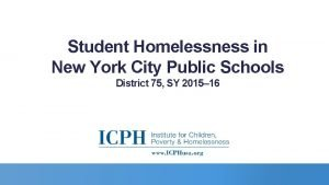 Student Homelessness in New York City Public Schools