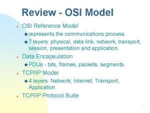 Review OSI Model n OSI Reference Model u