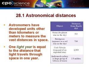 28 1 Astronomical distances Astronomers have developed units