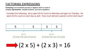 FACTORING EXPRESSIONS Factoring is an important process in