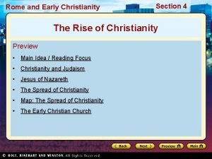 Rome and Early Christianity Section 4 The Rise