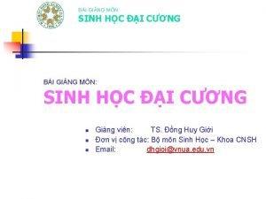 BI GING MN SINH HC I CNG n