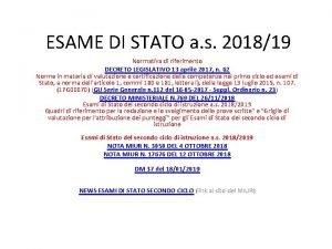 ESAME DI STATO a s 201819 Normativa di