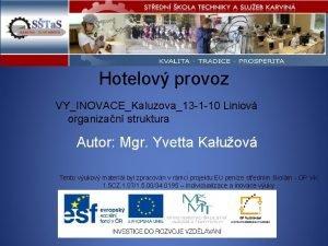 Hotelov provoz VYINOVACEKaluzova13 1 10 Liniov organizan struktura