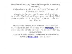 Manaersk funkce innosti Managerial Functions Activities Co jsou