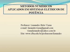 MTODOS NUMRICOS APLICADOS EM SISTEMAS ELTRICOS DE POTNCIA