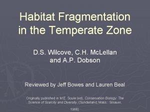Habitat Fragmentation in the Temperate Zone D S