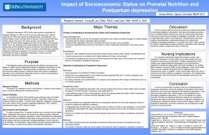 Impact of Socioeconomic Status on Prenatal Nutrition and