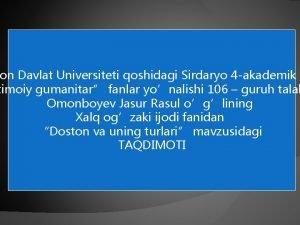 on Davlat Universiteti qoshidagi Sirdaryo 4 akademik l