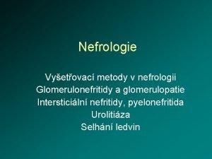 Nefrologie Vyetovac metody v nefrologii Glomerulonefritidy a glomerulopatie