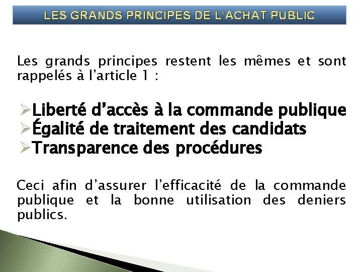 LES GRANDS PRINCIPES DE LACHAT PUBLIC Les grands