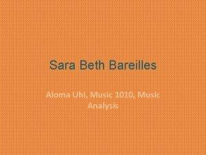 Sara Beth Bareilles Aloma Uhi Music 1010 Music