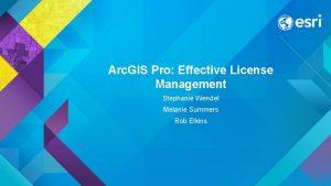 Arc GIS Pro Effective License Management Stephanie Wendel