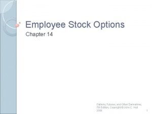 Employee Stock Options Chapter 14 Options Futures and