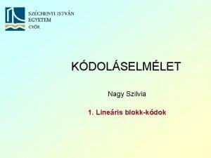 KDOLSELMLET Nagy Szilvia 1 Lineris blokkkdok Szchenyi Istvn