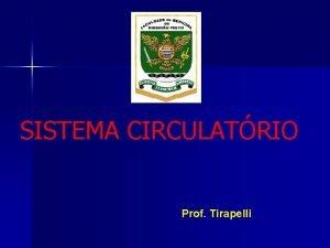 SISTEMA CIRCULATRIO Prof Tirapelli Sistema Circulatrio Sistema vascular