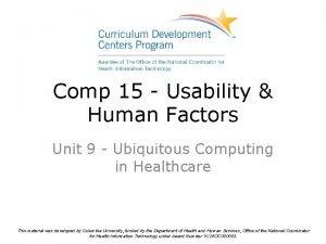 Comp 15 Usability Human Factors Unit 9 Ubiquitous