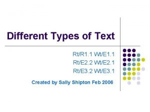 Different Types of Text RtR 1 1 WtE