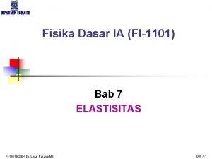 DEPARTMEN FISIKA ITB Fisika Dasar IA FI1101 Bab