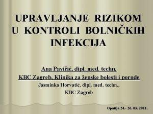 UPRAVLJANJE RIZIKOM U KONTROLI BOLNIKIH INFEKCIJA Ana Pavii
