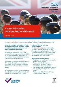 Patient information Veteran Aware NHS trust January 2020