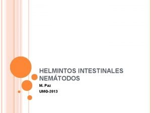 HELMINTOS INTESTINALES NEMTODOS M Paz UMG2013 NEMTODOS Gusanos