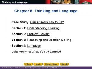 Thinking and Language Chapter 8 Thinking and Language