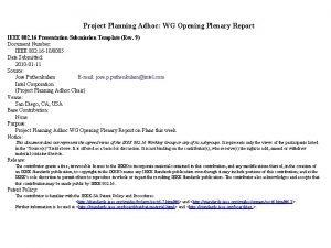 Project Planning Adhoc WG Opening Plenary Report IEEE