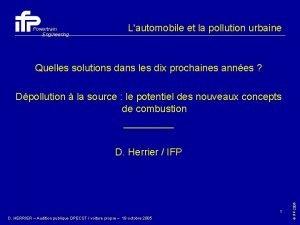 Powertrain Engineering Lautomobile et la pollution urbaine Quelles