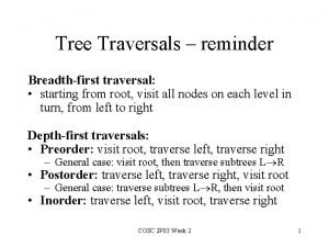 Tree Traversals reminder Breadthfirst traversal starting from root