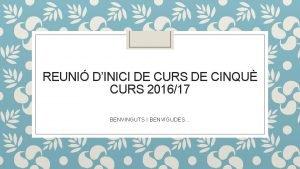 REUNI DINICI DE CURS DE CINQU CURS 201617