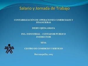 Salario y Jornada de Trabajo CONTABILIZACIN DE OPERACIONES