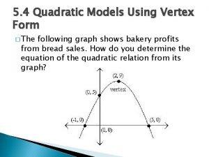 5 4 Quadratic Models Using Vertex Form The