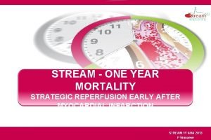 STREAM ONE YEAR MORTALITY STRATEGIC REPERFUSION EARLY AFTER