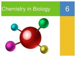 Chemistry in Biology 6 The Big Idea Atoms