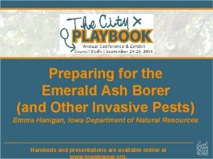 Preparing for the Emerald Ash Borer and Other