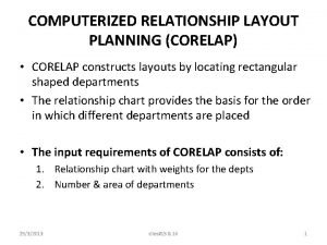 COMPUTERIZED RELATIONSHIP LAYOUT PLANNING CORELAP CORELAP constructs layouts