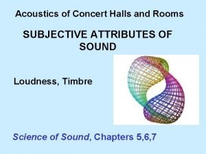 Acoustics of Concert Halls and Rooms SUBJECTIVE ATTRIBUTES