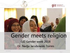 Gender meets religion GIZ Gender week 2018 Dr