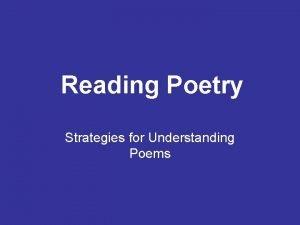 Reading Poetry Strategies for Understanding Poems Speaker The