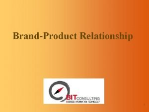 BrandProduct Relationship 1 BrandProduct Relationship Introduction Six types