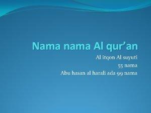 Nama nama Al quran Al itqon Al suyuti