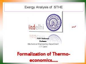 Exergy Analysis of STHE P M V Subbarao