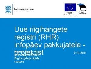Uue riigihangete registri RHR infopev pakkujatele projektist Maarika
