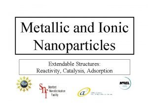 Metallic and Ionic Nanoparticles Extendable Structures Reactivity Catalysis