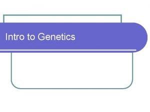 Intro to Genetics Genetics Student Expectation B 6