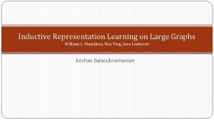 Inductive Representation Learning on Large Graphs William L
