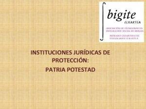 INSTITUCIONES JURDICAS DE PROTECCIN PATRIA POTESTAD CONCEPTO La